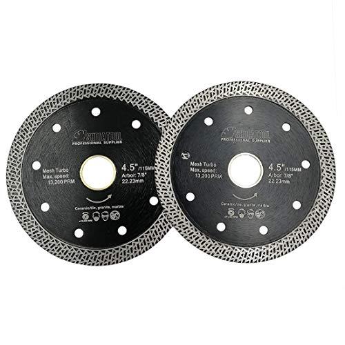 SHDIATOOL Disco Tronzador de Diamante 2 Piezas 115MM con Malla Turbo Hoja de Sierra para Porcelana Azulejos Cerámica Granito Mármol