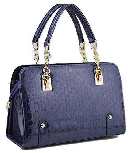 Ladies Beautiful Navy Blue Patent Purse -Designed Sholder Bag & Pocketbook For Women -Crossbody Messenger Bag