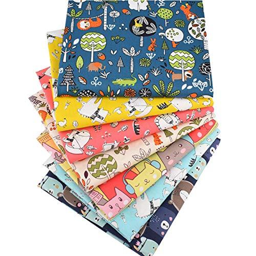 Ibalulu 7 piezas 50 x 50 cm tela de algodón por metros para coser, patchwork, tela de costura, manualidades, mezcla de dibujos animados