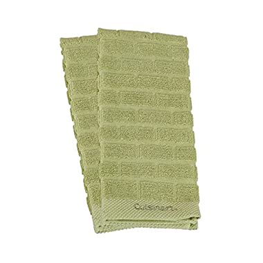 Cuisinart 100% Cotton Terry Super Absorbent Kitchen Towel, Sculpted Subway Tile, Sage- 2pk, Perfect for Drying Dishes & Hands, Machine Washable