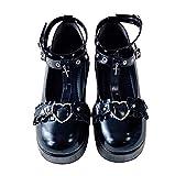 BB BEROBELLO FASHION IS AN ATTITUDE Harajuku Gothic Punk Lolita Shoes Halloween Cosplay Platform Wedge Pumps Glossy Black