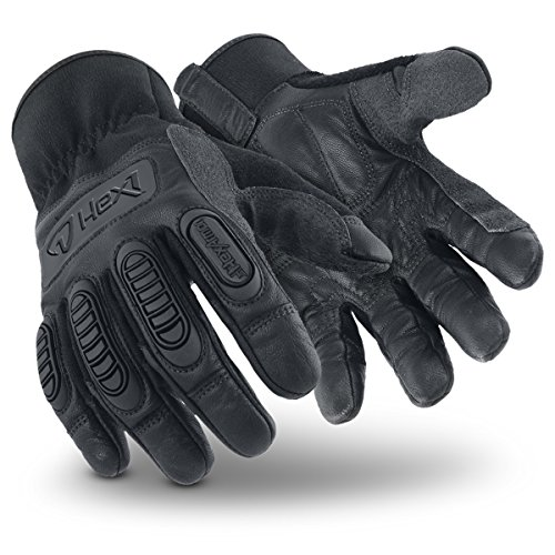 HexArmor Hex1 2125 Black Work Gloves with Light Impact Protection and Leather Palm, XX-Large, 1 Pair