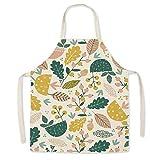 Delantal de cocina diseño otoño de flores Delantal cocina mujer ajustable, Impermeable, antiarrugas, alegre y libre de manchas Para cocinar, hornear, parrilla, barbacoa o jardín. (Otoño)