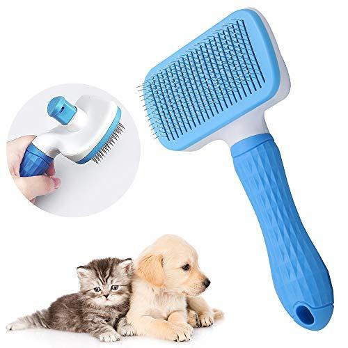 ZoneYan Haustierbürste Selbstreinigend, Hundebürste Langhaar, Katzenkamm Kurzhaar, Zupfbürste für Hunde, Katzen Bürste Kamm, Fellbürste für Hunde, Sauberes Haustierhaar Von der Bürste mit Einem Knopf