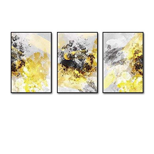 Everyday home 3 Multi murale Set bois massif lumière Yang Triptyque salon murale pour salon/avec des photos (Couleur : Classic black box, taille : 50cmx70cm)