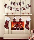 LSJDEER - Juego de pancartas y Calcetines navideños, calcetín de arpillera con Forma de Guante, decoración con Letras de Feliz Navidad, 4 Piezas de Calcetines navideños a Cuadros para Chimenea