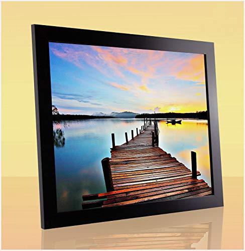 Paolo Passgenauer Bilderrahmen PuzzleRahmen 20.5x25.5 cm Schwarz Matt Speziell für Puzzle 25.5x20.5 cm mit Antireflex Kunstglas