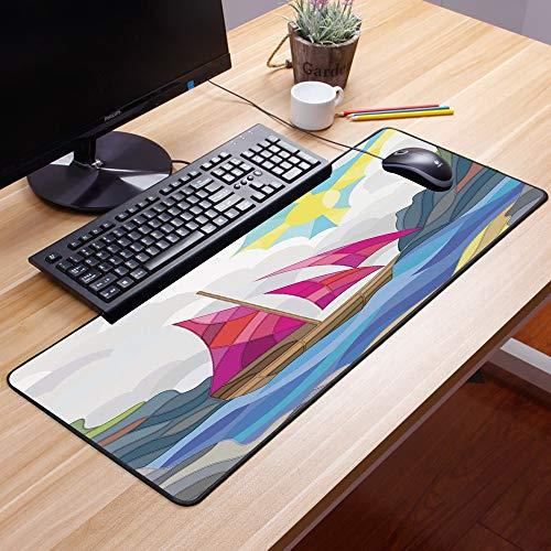 Comfortable Mouse Pad 60x35 cm,Moderno, sol, cielo, nubes, barco de vela, en el mar, estilo d,Impermeable con Base de Goma Antideslizante,Special-Textured Superficie para Gamers Ordenador, PC y Laptop