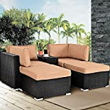 Tangkula 5PCS Outdoor Wicker Chair Lounge Set Sectional Rattan Daybed Funiture Ottoman