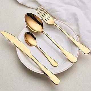 Arts de la Table d'or Couverts de Vaisselle 304 Or Noir en Acier Inoxydable Couverts Couteau Fourchette Set Argenterie Vai...
