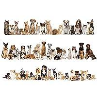 Fablcrew ウォールステッカー 猫 犬 かわいい ウォールステッカー 子供部屋 剥がせる 壁紙 部屋飾り ウォールステッカー 防水 おしゃれ 60*90cm