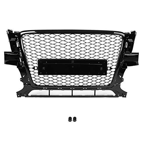 DUQYDM Hood Hood Grill, for Q5 8R 2009 2010 2011 2012 for RSQ5 Style Grill Mesh Front Sport Hex Mesh Gloss Black