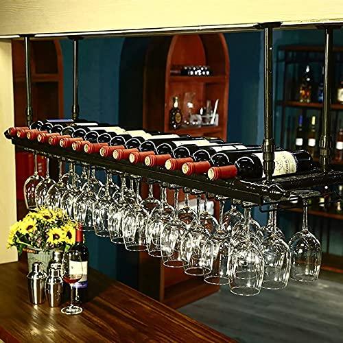 FGDFGDG Soporte de Botella de Vino Tenedor de Botella Cabeza DE Estilo Simple DE Caja para CALIR Decoración del Techo Titular de la Taza de Vino para Colgar en Altura Ajustable