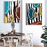 Pintura decorativa pintura abstracta color moda arte lienzo pintura salón corredor oficina hogar mural 50x70cm x2 no marco