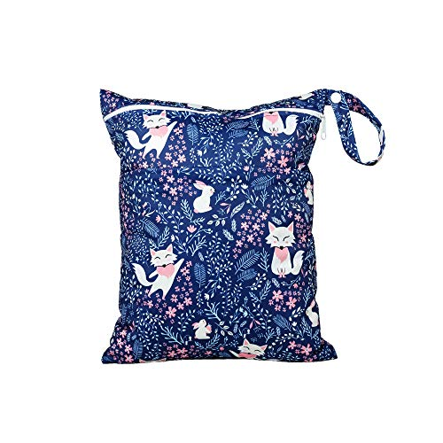 Wet Bag for Cloth Diapers Waterproof Reusable Bags with Two Zippered Pockets Fox Flower Wet Dry Bag Travel Beach Pool Yoga Gym Bag for Pump Swimsuits Wet Clothes 1 pc