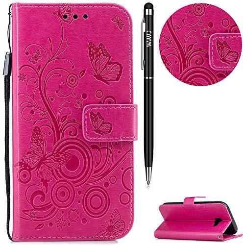 WIWJ Galaxy A5 2017 Hülle, Premium Tasche Cover Handyhülle[Geprägtes Schmetterling Schnallen Holster] Brieftasche Flip Case Lederhülle Schutzhülle Handyhüllen für Samsung Galaxy A5 2017-Rose rot