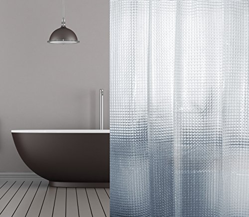 PEVA DUSCHVORHANG 3D OPTIK TRANSPARENT MOSAIK 120x180 CM INKL. DUSCHVORHANGRINGE! SHOWER CURTAIN 3D CLEAR
