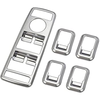 Qiilu Side Window Switch Bezel Trim 5Pcs Inner Door Armrest Window Switch Button Trim Cover for Mercedes Benz A B C E CLA GLA GLK ML GLE Class W204