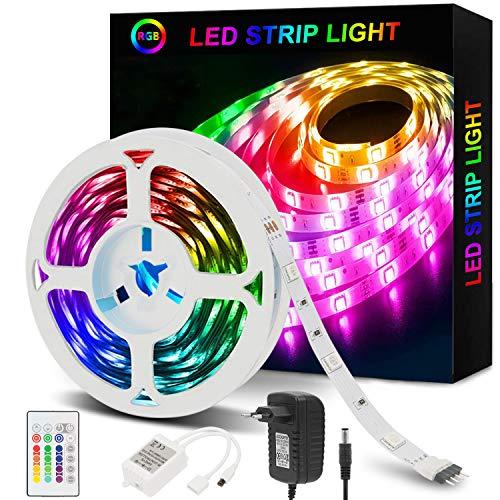 Strisce LED,Azhien Striscia LED 5m RGB con Telecomando,5050 LED Strisce LED Luminose con 16 Cambi di Colore,4 Modalita per la Casa,Camera da Letto,TV,Decorazioni per Mobili,Feste,12V