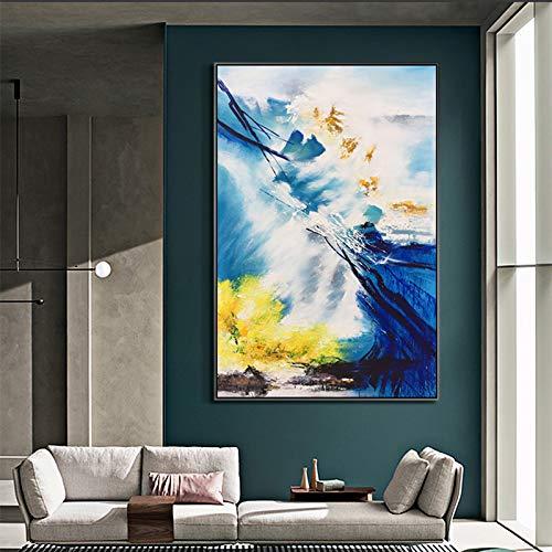 tzxdbh 100% handbeschilderd abstract moderne zee kunst olieverfschilderij op canvas muur kunst muurdecoratie foto's schilderen voor woonkamer huis-in van (80X100cm)32X40inch With Frame