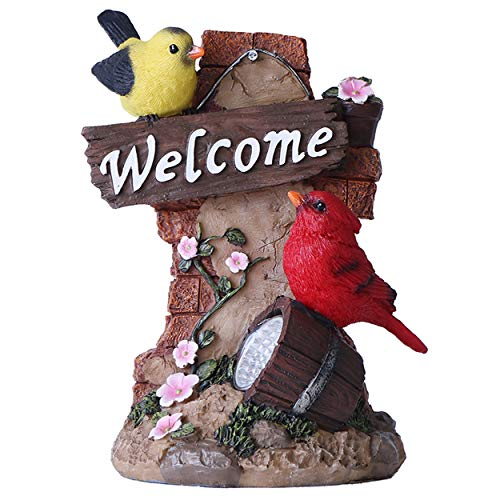 TERESA'S COLLECTIONS Cardinal Bird Garden Statues with Solar Light, Red Welcome Sign Resin Animal Garden Figurines Sculpture Lawn Ornaments for Outdoor Patio Yard Decorations, 7 Inch