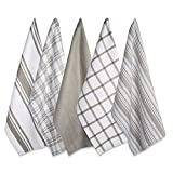 DII Kitchen Dish Towels (Brown, 18x28'), Ultra Absorbent & Fast Drying, Professional Grade Cotton Tea Towels for Everyday Cooking and Baking - Assorted Patterns, Set of 5