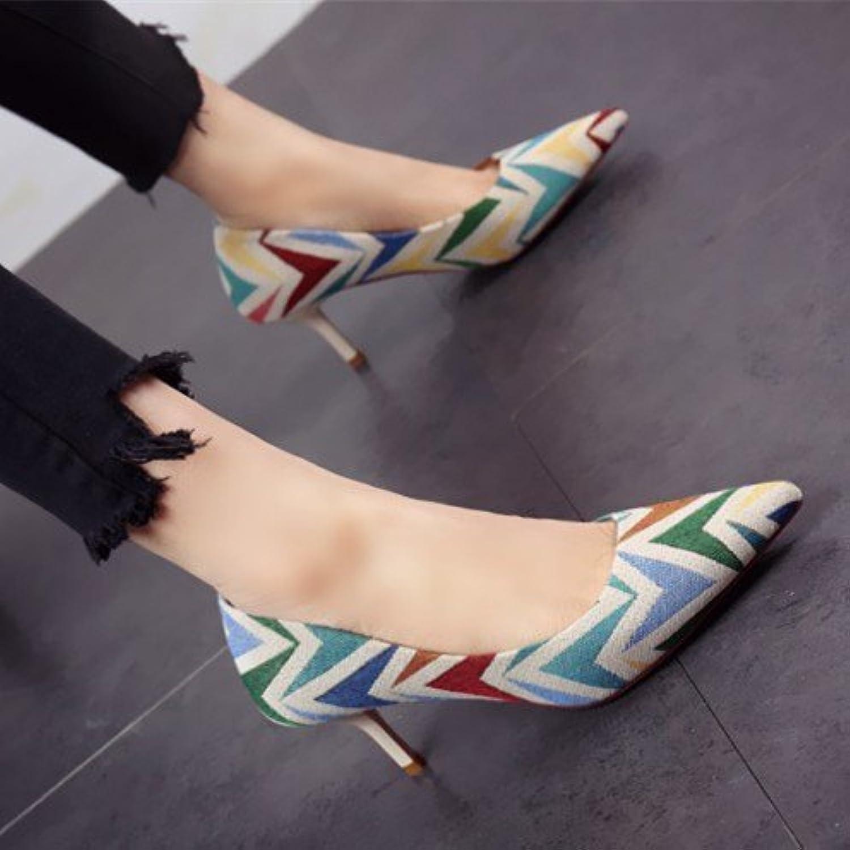 FLYRCX High Heels European Fashion Farbe Damen High Heels Flachs Leinen Thin Thin flach Flacher Schuhe, Schuhe