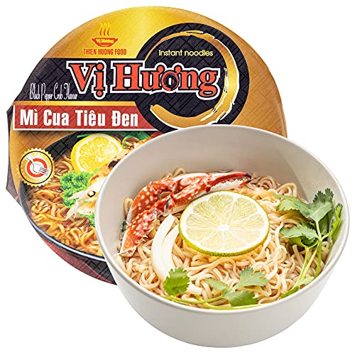 VI HUONG Instant Noodles Bowl – Authentic Vietnamese Instant Ramen Soup – Beef, Crab, Chicken or TomYum Flavorful Instant Noodles – 3-min Fast Ramen – Natural Ingredients – Pack of 12 (Black Pepper Crab)