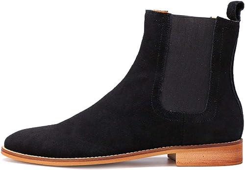 ZHRUI Comfort Chealsea Stiefel Stiefel Stiefel für Männer Weißhe Sohle aus echtem Leder Comfort Durable Stiefel (Farbe   Schwarz Größe   EU 44)  Limit kaufen