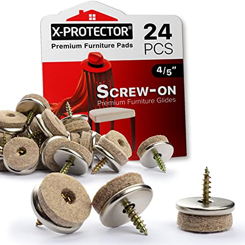 Screw-On Felt Pads by X-Protector – 24 Felt Chair Pads for Hardwood Floors – 20mm Premium Chair Glides – Beige Floor Protectors for Furniture Legs – The Best Furniture Sliders for Hardwood Floors!