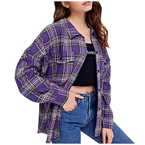 XUJY Camisa de manga larga a cuadros para mujer, de gran tamaño, con botones, estilo universitario, morado, M