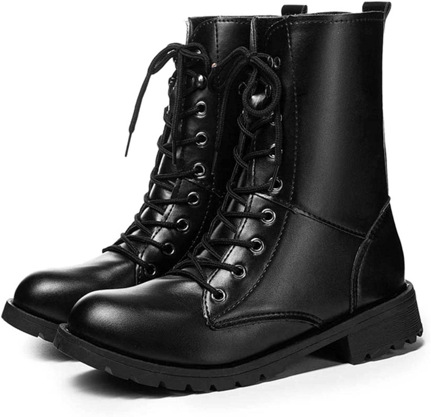 T-JULY Women PU Leather Boots Low Heel Winter shoes Couples Motorcycle Ankle Boots Female Plus Size shoes