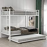 Metal Bunk Bed, Twin Over Twin Bunk Bed with Trundle and Safety Guard Rails, Space-Saving Bed Frame for Kids Teens Adults, White
