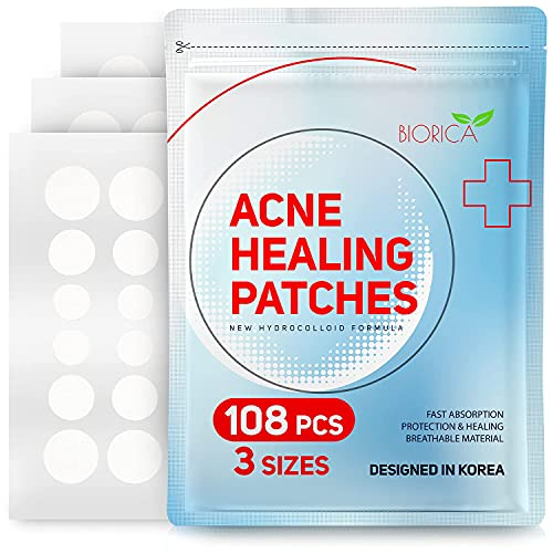 Invisible Acne Patch, Pimple Healing. Hydrocolloid Acne Spot Treatment, Sticker with Absorbing Cover for Healing Acne Dot, 108 Pieces, 8 mm, 10 mm, 12 mm Size