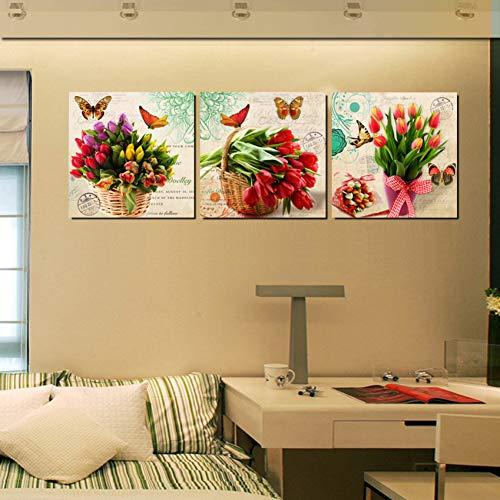 MMLFY 3 opeenvolgende schilderijen 40x40cmx3stks Moderne Bunch Bloemen Canvas Prints Tulpen Gedrukt Schilderijen op Canvas Vintage Wall Art voor Home office Slaapkamer Decor Unframed