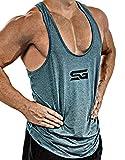 Satire Gym – Débardeur de Fitness Homme – T-Shirt sans Manches à séchage Rapide – Débardeur de Sport pour entraînement et Sport – débardeur de Musculation/Tank Top pour la Gym (pétrole chiné, L)