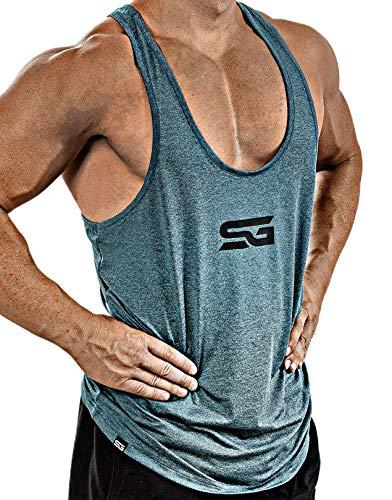 Satire Gym Camiseta Stringer para Hombre - Ropa Deportiva Funcional - Adecuada para Workout, Entrenamiento - Camiseta de Tirantes (Moteado de Color Gasolina, M)