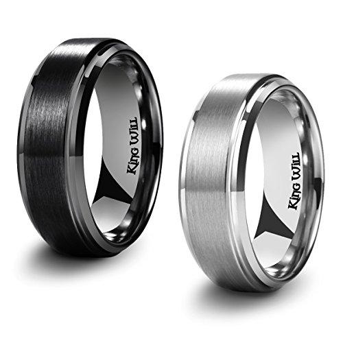 King Will BASIC Men's Black Titanium Ring 8mm Polished Beveled Stepped...