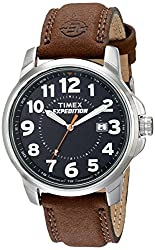 Timex Men's T44921 Expedition Metal Field Black/Brown Leather Strap Watch