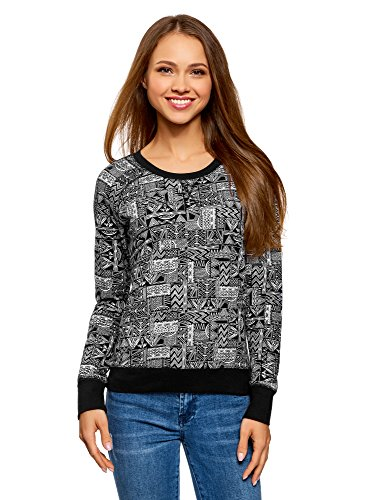 oodji Ultra Damen Bedrucktes Sweatshirt Basic, Schwarz, DE 36 / EU 38 / S