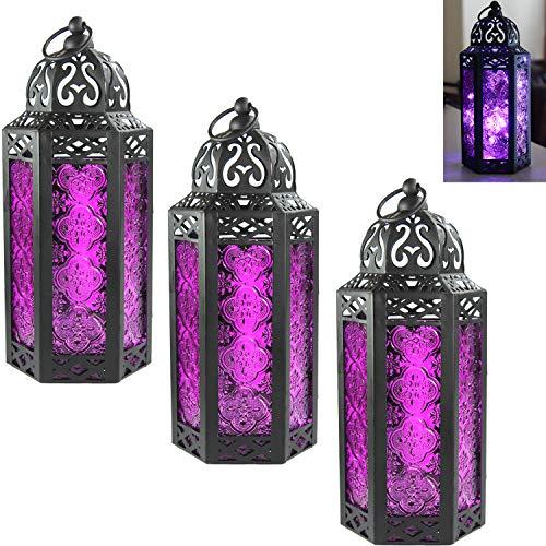 Vela Lanterns Moroccan Style Candle Lantern with LED Fairy Lights, Medium, Purple Glass, Pack of 3