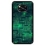Hapdey silikon Hülle für [ Xiaomi Poco X3 ] Design [ Digitale Matrix ] Schwarze Flexibles TPU