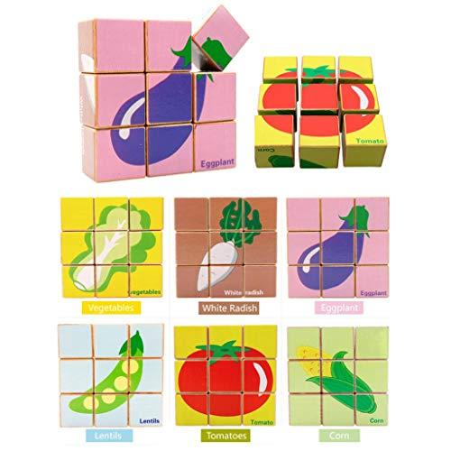 Houten puzzels Zeszijdige 3D Jigsaw 9 Blocks Adult Kids rijke fantasie Exercise Denken Training Hands-on vermogen Toys Groenten