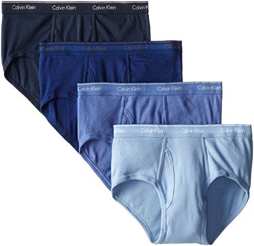 Calvin Klein Men's Cotton Classics Multipack Briefs, Blue Assorted (4 Pack), Large