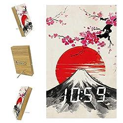 Digital Alarm Clock for Bedrooms Kitchen Office 3 Alarm Settings Radio Wood Desk Clocks - Japanese Cherry Blossom
