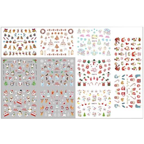 Minkissy 3 Fogli Adesivi per Nail Art Natalizi 11 Stili popolarità Decalcomanie per Unghie Punte autoadesive Stencil per Nail Art per Il Salone di casa del Negozio