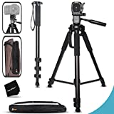 Durable Pro Grade 75 inch Tripod + 72 inch Pro Monopod W/Convenient Backpack Style Carrying Case for Canon EOS 70D 60D 7D 6D 5D 7D Mark II EOS Rebel T6i T6S T5i T5 T4i T3i T3 T2i DSLR Cameras
