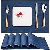 Myir Tovagliette Americana Plastica Lavabili, Set di 6 Tovagliette Non-scivolose Resistenti al Calore, Tovaglietta Americane per Tavolo da Cucina (Blu 2)