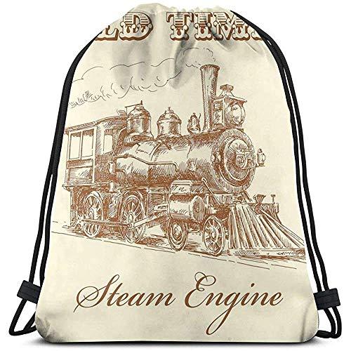 Bolsas de cordón con cordón, mochila de cuerda, bolsa de cordón, de Old Times Train Vintage dibujado a mano de hierro industrial Locomotora Sport Cinch Pack, mochila de viaje, bolsas de gimnas