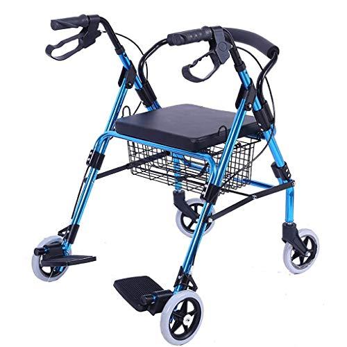 FACAZ Carrito de Compras Ligero para Andador, Carrito de la Compra con Andador Plegable de Aluminio, Antiguo Carrito de Cuatro Ruedas para Caminar, bastón Antideslizante con muletas de Hospital